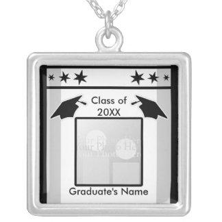 Black, White and Gray Graduation (photo frame) Square Pendant Necklace