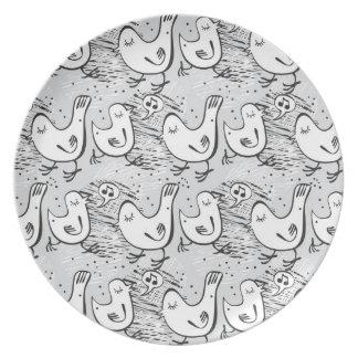 black, white and gray singing birds melamine plate