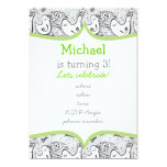 """black, white and gray singing birds with frame 5"""" x 7"""" invitation card"""