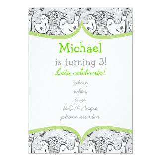 black, white and gray singing birds with frame personalized invitation