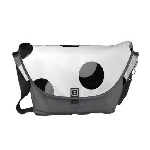 Black, white and gray spotty pattern. messenger bag