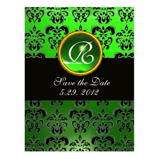 BLACK  WHITE AND GREEN  DAMASK EMERALD Monogram Postcard