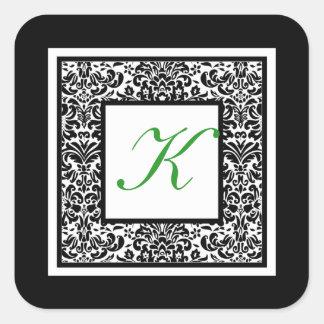 Black, White, and Green Damask Monogram Sticker