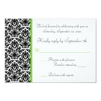 Black, White, and Green Damask RSVP Card