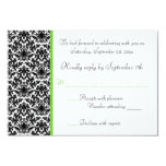 """Black, White, and Green Damask RSVP Card 3.5"""" X 5"""" Invitation Card"""