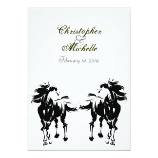 Black, White and Green Horse Wedding Invitation