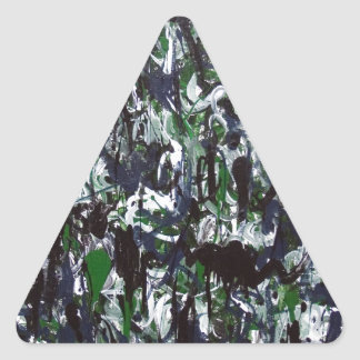 Black White and Green Jungle Splashes Triangle Stickers