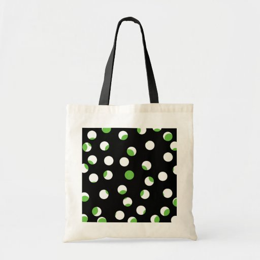 Black, White and Green Spotty Pattern. Canvas Bag