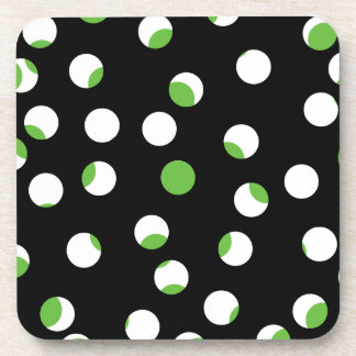 Black, White and Green Spotty Pattern. Coasters