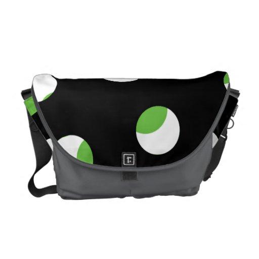 Black, White and Green Spotty Pattern. Messenger Bag