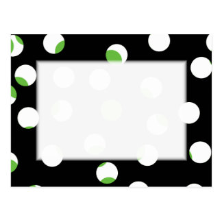 Black, White and Green Spotty Pattern. Postcard