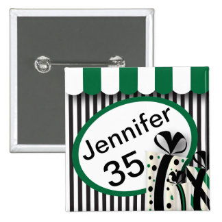 Black, White and Green Stripes | DIY Text 2 Inch Square Button