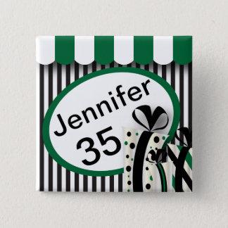 Black, White and Green Stripes | DIY Text Pinback Button