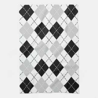 Black White and Grey Argyle Hand Towel
