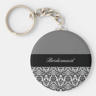 black,white and grey damask design 2 basic round button keychain