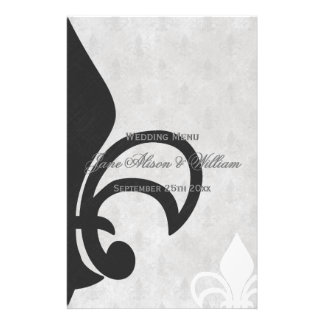 Black, White and Grey Fleur de Lis Wedding Menu