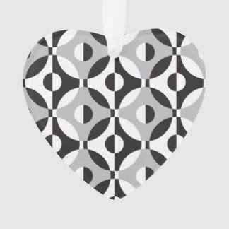 Black, white and grey geometric circles ornament