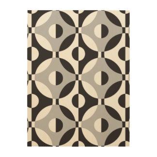 Black, white and grey geometric circles wood print