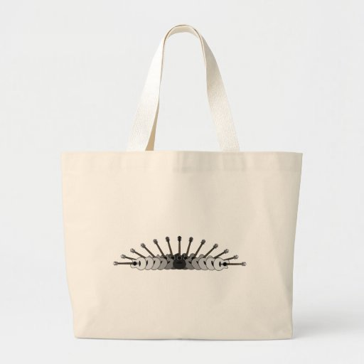 Black, White and Grey Guitars Collage Jumbo Tote Bag