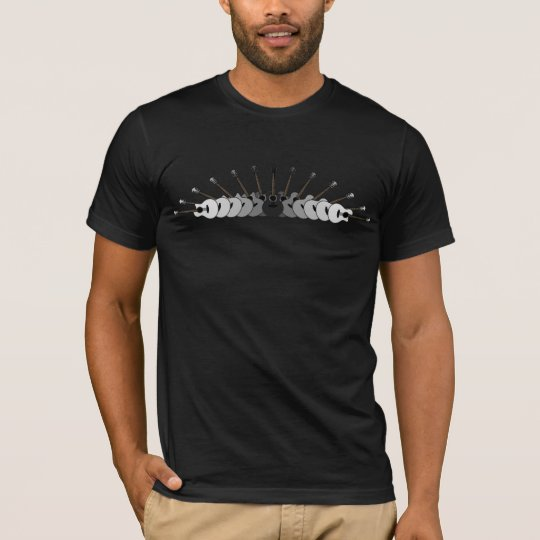 Black, White and Grey Guitars Collage T-Shirt