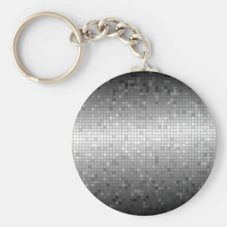 black, white, and grey square pattern keychain