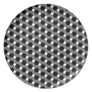 Black, White and Grey Tessellation Pattern Dinner Plate