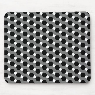 Black, White and Grey Tessellation Pattern Mouse Pad