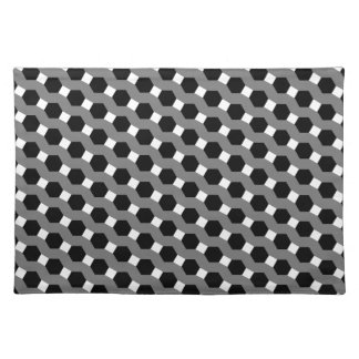 Black, White and Grey Tessellation Pattern Placemat