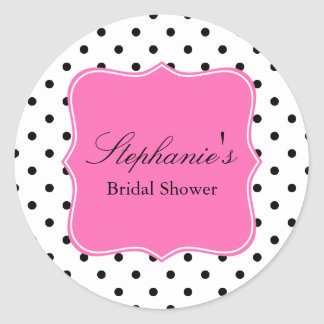 Black, White and Hot Pink Polka Dot Bridal Shower Classic Round Sticker