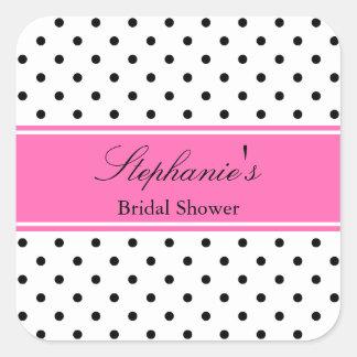 Black, White and Hot Pink Polka Dot Bridal Shower Square Sticker