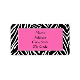 Black, White and Hot Pink Zebra Print Custom Address Label