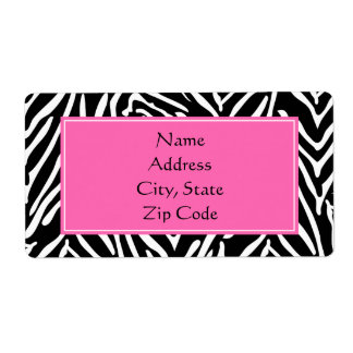 Black, White and Hot Pink Zebra Print Label