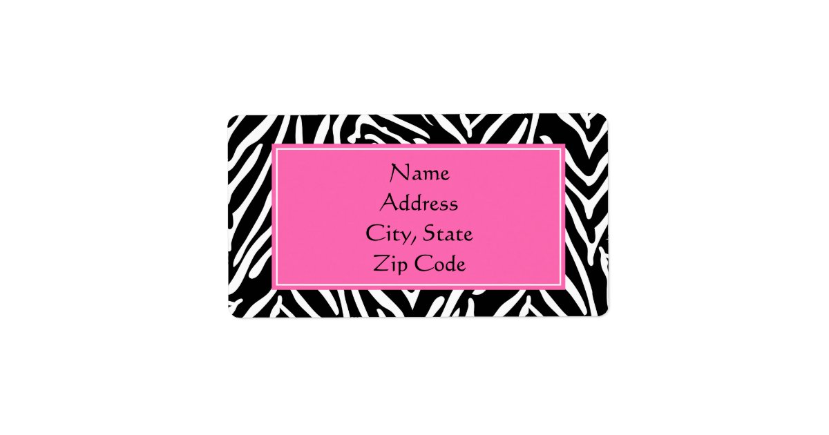 Black, White and Hot Pink Zebra Print Label | Zazzle