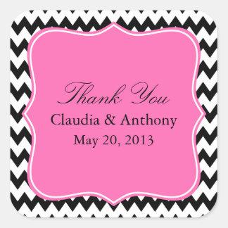 Black, White and Hot PinkZigzag Wedding Thank You Square Sticker