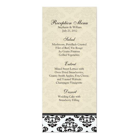 Black White and Ivory Damask Reception Menu Card