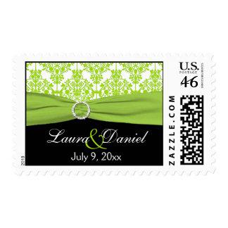 Black, White, and Lime Damask Wedding Postage