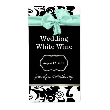 Professional Business Black, White, and Mint Damask Wedding Wine Labels
