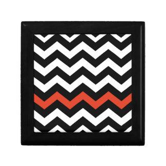 Black White And Orange Chevron Stripes Gift Box