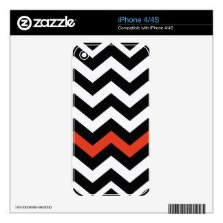 Black White And Orange Chevron Stripes iPhone 4S Decals