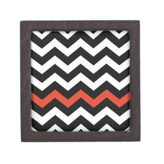 Black White And Orange Chevron Stripes Keepsake Box