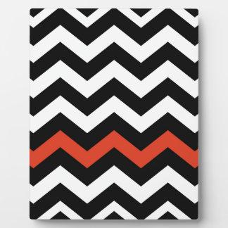 Black White And Orange Chevron Stripes Plaque