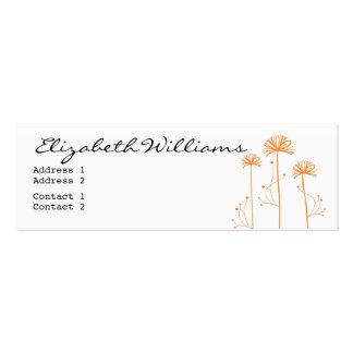Black, White and Orange Floral Mini Business Card