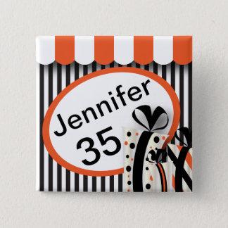 Black, White and Orange Stripes | DIY Text Button