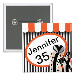 Black, White and Orange Stripes | DIY Text 2 Inch Square Button