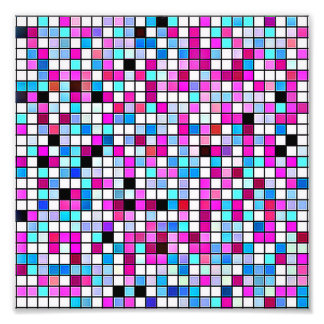 Black, White And Pastels Square Tiles Pattern Photograph