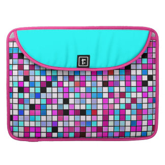 Black, White And Pastels Square Tiles Pattern Sleeve For MacBook Pro