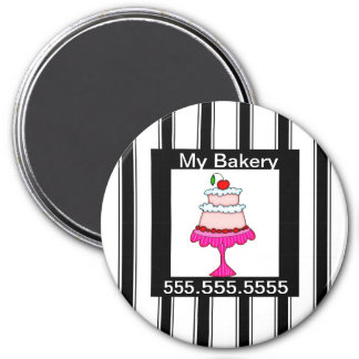 Black,white and pink, Bakery Magnet