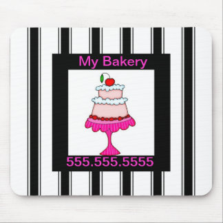Black,white and pink, Bakery Mouse Pad