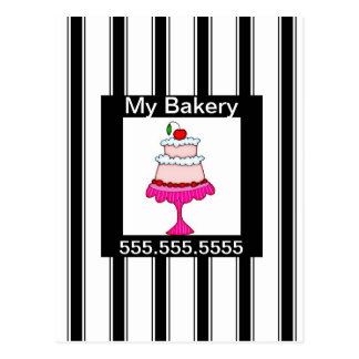 Black,white and pink, Bakery Postcard