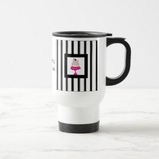 Black,white and pink, Bakery Travel Mug